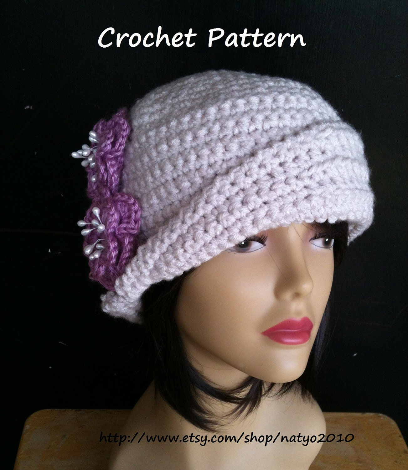 Roses Beauty Cloche Hat Crochet Pattern CAN SELL by NatalieSpot