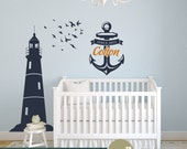 Nautical Wall Decor Set - Lighthouse Wall Decal with Birds and Personalized Anchor - WD0156 - WD0012