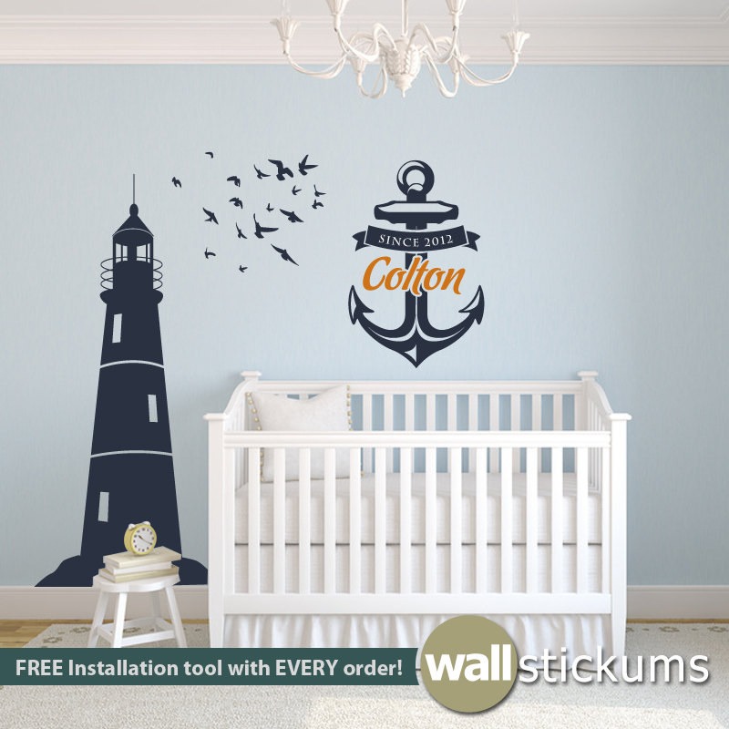 nautical wall decor set lighthouse wall decal with birds and. Black Bedroom Furniture Sets. Home Design Ideas