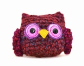 owl amigurumi plush purple red blue orange mini miniature stuffed woodland animal crochet ready to ship