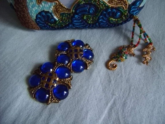 VINTAGE ROYAL BLUE Clip Earrings So Gorgeous and Chic and Large