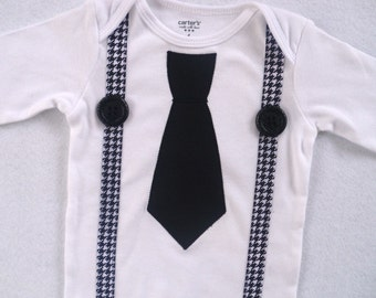 Tie Bodysuit with Suspenders / Black with Houndstooth