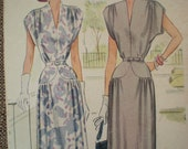 Now on Sale, 1948 McCall Belted Dress Sewing Pattern 7209, Size 16, Bust 34
