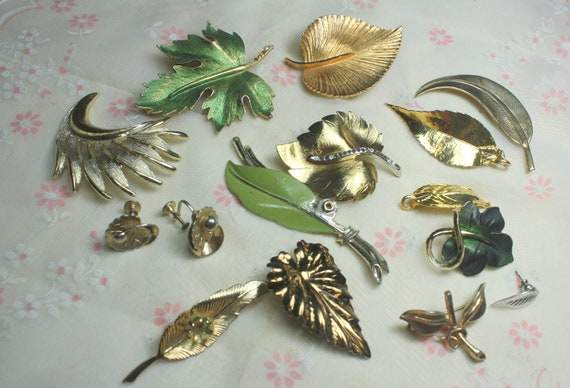Lot of Vintage and Salvaged Mixed Metal Leaf Jewelry Parts and Pieces