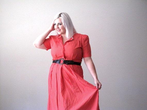 Peachy Polka dot- Vintage Dress- plus size- Rockabilly  -pinup