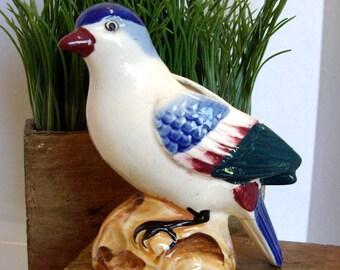 Vintage bird planter handpainted Japan 1940s