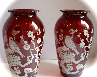 Vintage Red Flash Glass Vases Songbird Branch 1959