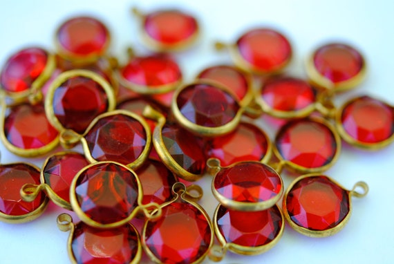 Vintage Drops, Red Ruby,Channel Set with One Loop ,  Faceted Round, 12mm (6) (F-266D)(L-13)