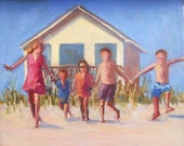Beach Bound 8x10, Children at Play Beach Original Figure Oil Painting