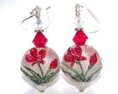 Crimson Flower Earrings, Red Flower Lampwork Earrings, Handmade Lampwork Glass Sterling Silver and Swarovski Earrings