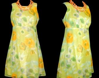 Vintage 1960s Dress Retro Bohemian XS Goddess Bo-ho Mad Men Pinup Bombshell Garden Party Rockabilly