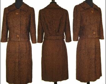 Vintage 1950s Suit Tweed Designer Brown Couture Femme Fatale Rockabilly Garden Party Mad Men Mid Century