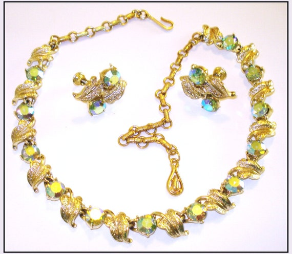 Vintage Designer 1940s Coro Rhinestone Necklace Matching Earrings Party Prom Swing Rockabilly Garden Party Mad Men Dress