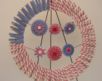 Patriotic Red White & Blue Paper Clothespin Wreath