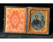 Civil War Photo | Antique Cased Photograph | 1860s Ambrotype | Mother Son Photography