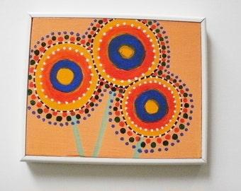 Folk Art Painting Whimsical Flowers
