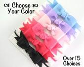 Choose your color - Classic baby headbands - infant headband - newborn headband - skinny elastic - ribbon bow headband - small long bow