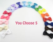 PICK 5 - Toddler Hair Clips - baby hair clips - baby hair bows - toddler hairbows - small hair clips - alligator clip pinched style AP