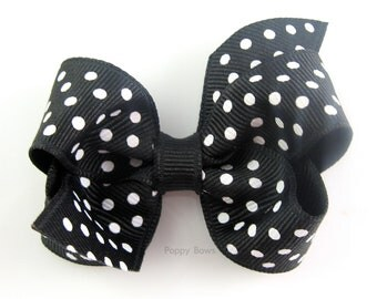 """Baby Hair Bow - Small 2.5"""" Black and White Polka Dot Hairbow for Babies Toddler Girls - No Slip Alligator Clip"""