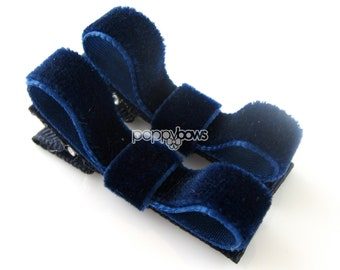 Navy Blue Velvet Hair Clips - Set of 2 - Matching Pair - Small Barrettes for Baby Girl Toddler Q4