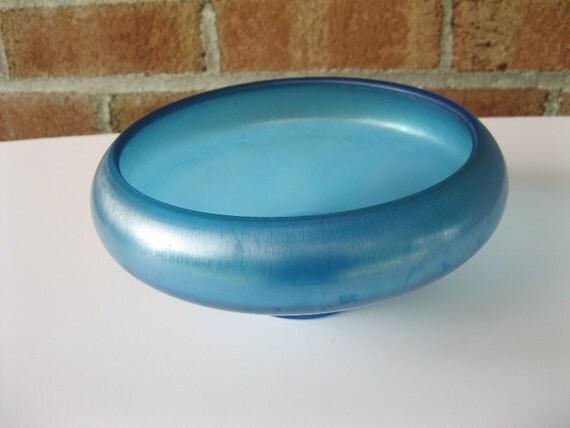 Fenton Celeste Blue Stretch Glass Bowl Flared Cupped Vintage