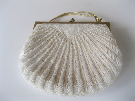 Reserved for Sarah. Ivory Beaded Purse Shell Design Vintage