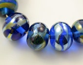 Lampwork Beads Transparent Blue and Silver Set of 14