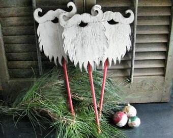 Santa Beard Prop Wooden Christmas Decor Winter Holiday