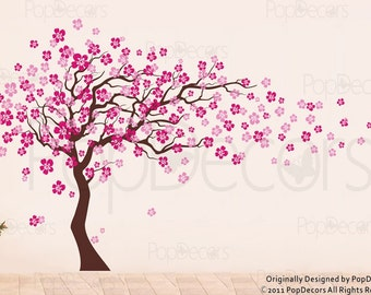 Cherry Blossom Tree Wall Decal (83inch H)- Nursery Floral Decals Girl's Decal Baby Room Tree Stickers -Designed by Pop Decors