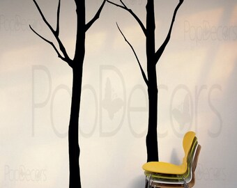 Tree Wall Decal Office Decal Living Room Wall Decors- Two Big Winter Cool Tree (102inch H) -Designed by Pop Decors