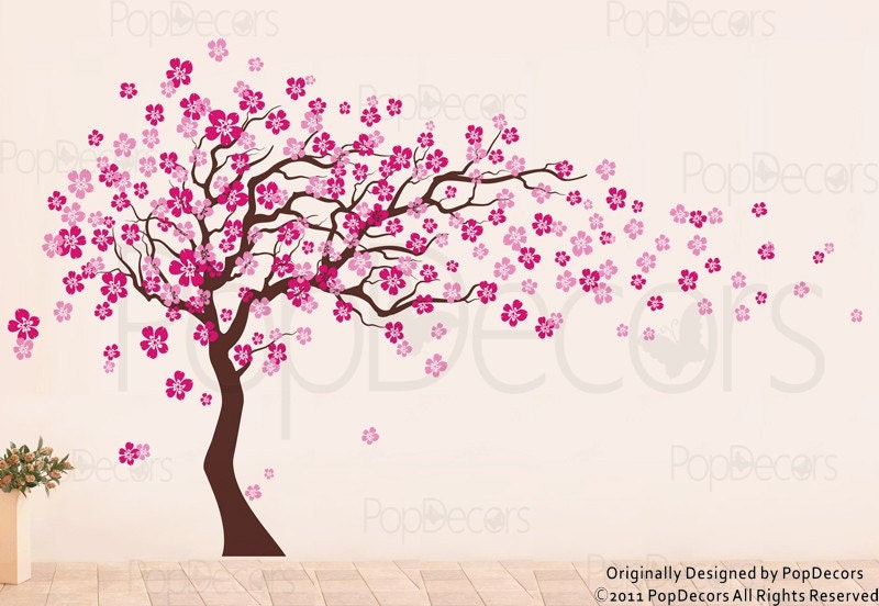 Cherry blossom tree wall decal 83inch h nursery floral for Cherry blossom tree mural