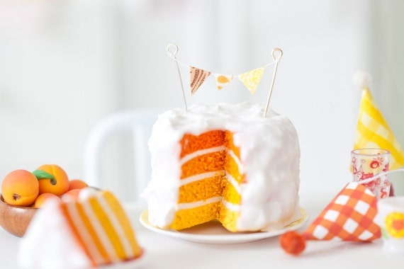Miniature Playscale Orange Ombre Cake with Bunting