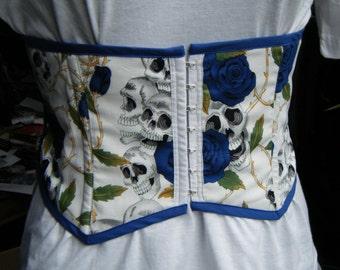 skulls and blue roses print front fastening waspie waist cincher skull underbust corset