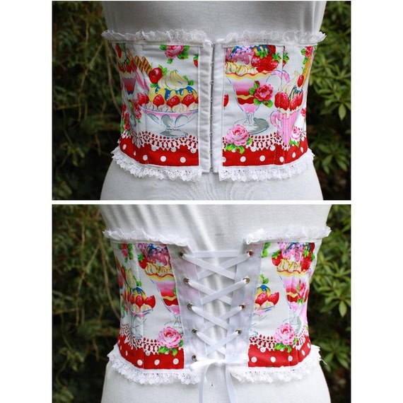 ice cream underbust corset  waspie. strawberry sundae print with white lace. limited edition. Lolita