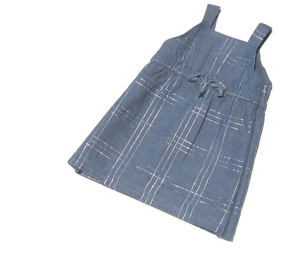"CLEARANCE. American Girl Doll Clothes. 18"" Doll Dress. ON SALE. Eco-Friendly kids play: denim blue dress up Ready to Ship."