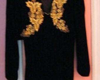Vintage Alex Evenings Black  Velvet Evening Dress Womens Size 12