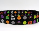 Halloween Dog Collar, Halloween Collar, Halloween, Pumpkin Collar, Skull Collar