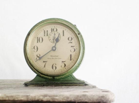 Vintage Metal Clock Baby Ben Deluxe Green Westclox Industrial