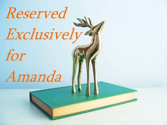 RESERVED FOR AMANDA - Vintage Brass Stag Deer with Antlers Long Legged Buck Animal Figurine