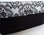 Colorblock Clutch Purse / Black Rouched Silk / Black & White Lace Print