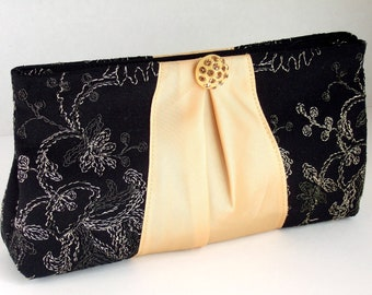 Ribbon Clutch in Black & Gold Embroidered Flowers/Vines