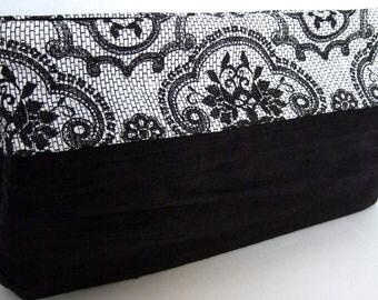 Colorblock Clutch Purse / Black Rouched Silk / Black & White Lace Print