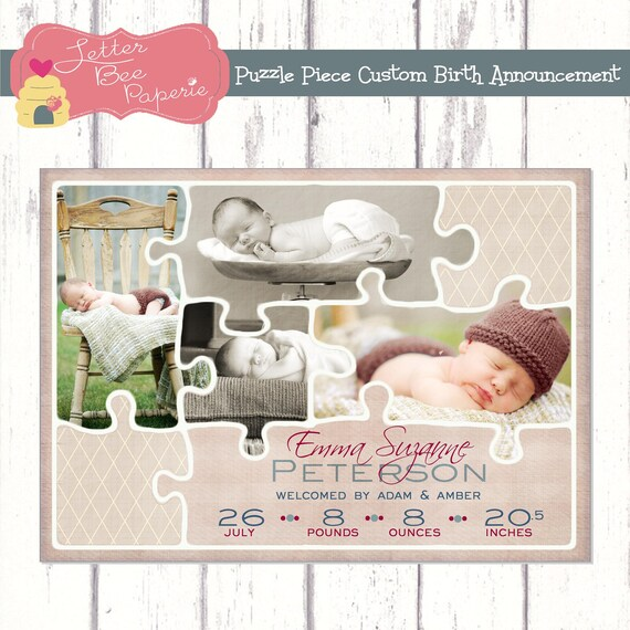 Puzzle Piece Custom Baby Girl Birth Announcement