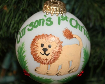 Lion Personalized Ornament Handpainted with Holly and Berries made with Swarovski Rhinestones - Made to Order