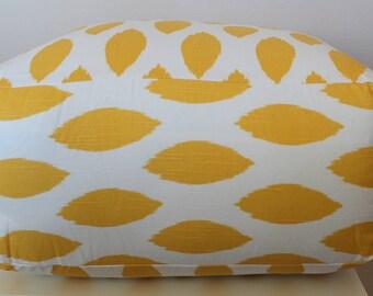 Square Pouf Floor Pillow Yellow White Ikat