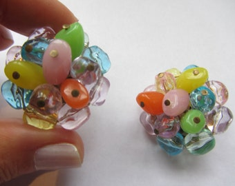 Vintage Colorful Beaded Clip On Earrings West Germany