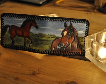 Handcarved Leather Wallet with Horse head on one side Horse running on other side