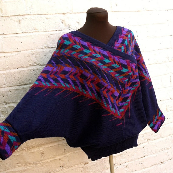 Vintage 80s Oversized Blue and Purple Batwing Sweater with Navajo Shawl Pattern