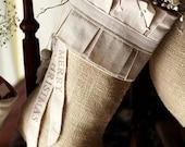 Burlap Christmas Stocking, cotton pleats, cotton tassels