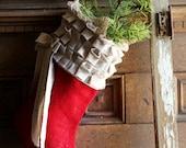Red Burlap Christmas Stocking, cotton ruffles, custom, personalized